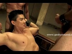 Gay stud in leather teaches slave
