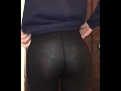 Cute ass in see through leggings