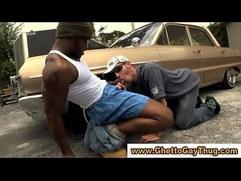 White dude sucks black mans cock in car park in amateur sex