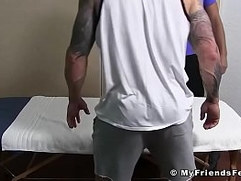 Inked hunk Clint has socks and feet sucked while jerking off