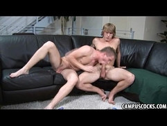 College twink with a ripped body sucks his younger friend