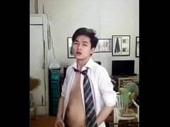 Cute Chinese Twink Strips Down and Cums
