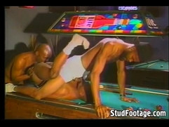 Gay anal threesome on the pool table