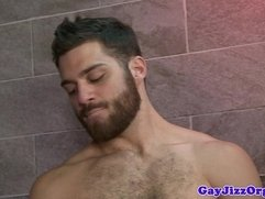 Oral orgy in the shower with Hunter Page