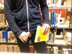 Public Library Masturbation with Cum