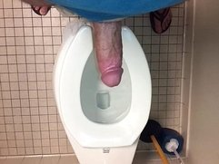 Amateur male masturbates and cums in public bathroom