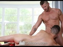 HD GayRoom Hunk gets oiled up and fucked