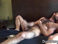 Bareback fucked bear tugs