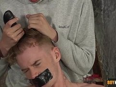 Sebastian is about to get his head shaved and face fucked