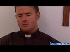Mature priest cocksucking in trio