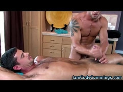Muscley hard cock gets jerked