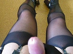 Crossdresser fetish wank cum