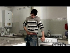 Hot Latin Cook Jacking Off In Kitchen